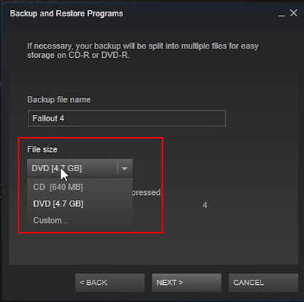 Select files size of your games.