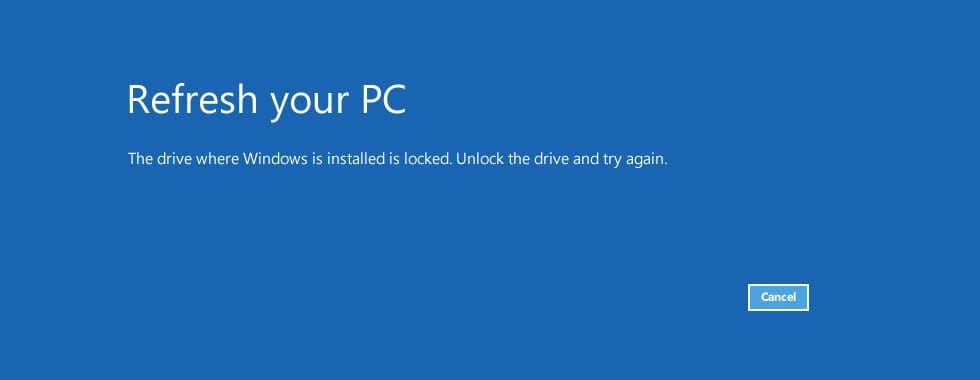 The drive where windows is installed is locked error screen